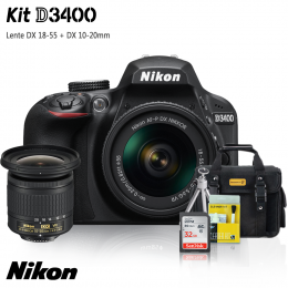 Nikon D3400 Kit + Lentes DX 18-55 e DX 10-20mm + Bolsa + Cartão 32GB + Mini Tripé + Kit Limpeza