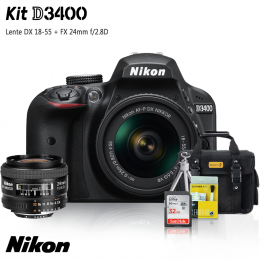 Nikon D3400 Kit + Lentes DX 18-55 e FX 24mm f/2.8D + Bolsa + Cartão 32GB + Mini Tripé + Kit Limpeza