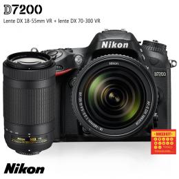 Câmeras Nikon D7200 + Lentes DX 18-55 VR e DX 70-300 VR
