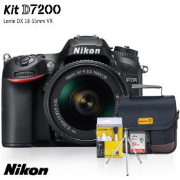 Nikon D7200 + Lente DX 18-55mm VR + Bolsa + Cartão 32GB + Mini Tripé + Kit Limpeza
