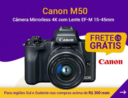Canon M50 - Câmera Mirrorless 4K com Lente EF-M 15-45mm