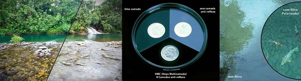 Exemplos de uso do filtro Polarizador Hoya