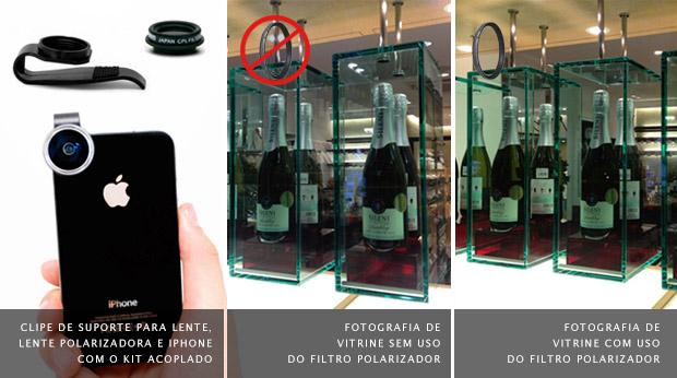 Exemplo de uso com e sem filtro Polarizador em vitrine