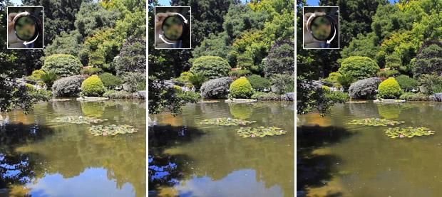 Exemplo de uso com e sem filtro Polarizador em foto de paisagem